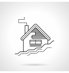 Flat black line house in snow icon vector image