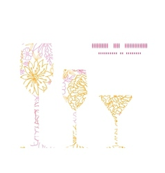 flowers outlined three wine glasses silhouettes vector image vector image