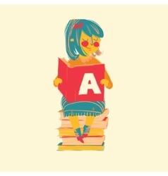 Girl reading books vector image