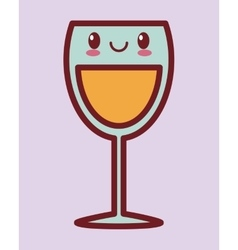 glass of wine kawaii icon image vector image