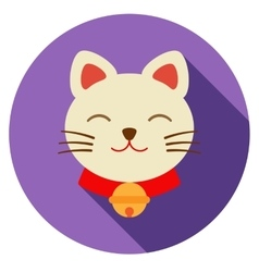 Lucky cat icon flat vector image vector image