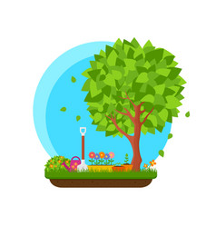 spring garden with flower and tree vector image vector image