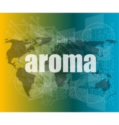 aroma word on digital screen mission control vector image vector image