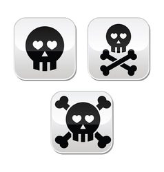 Cartoon skull with bones and hearts buttons vector image vector image