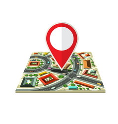 city map icon with red marker isolated on white vector image