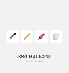 Flat icon tool set of sheets knife straightedge vector