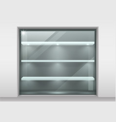 Glass showcase with shelves vector