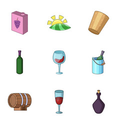 alcoholic drink icons set cartoon style vector image