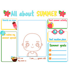 All about summer writing prompt for kids blank vector
