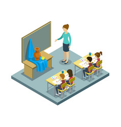 arts lesson at school isometric icon vector image