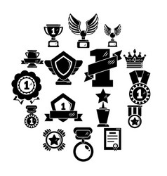 awards medals cups icons set simple style vector image