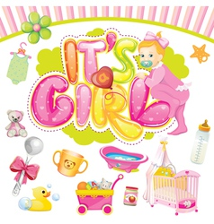 baby girl set vector image