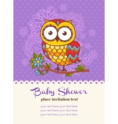 Baby shower invitation card with an owl vector