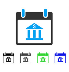 Bank building calendar day flat icon vector