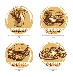 Banners of fast food sketch design vector image vector image