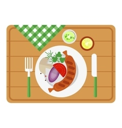 Bbq sausage on wooden tray vector