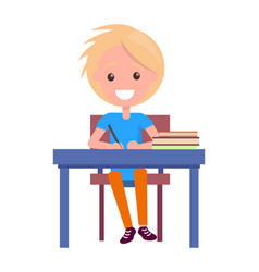 Blonde boy with textbooks at school table isolated vector