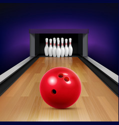bowling track realistic composition vector image