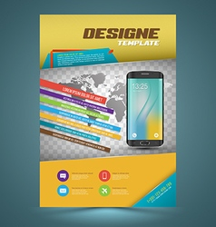 brochure template design with smartphone vector image