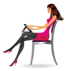 Business woman with tablet vector image