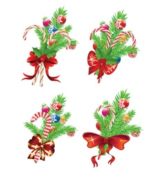 Candy Canes with Bow and Branch vector image