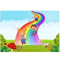 Cartoon little kids playing slide rainbow in the j vector