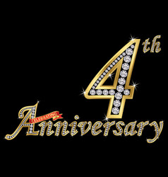 celebrating 4th anniversary golden sign with vector image