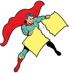 Classic superhero ripping paper or sign in half vector image