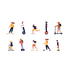 collection of people riding skateboard longboard vector image