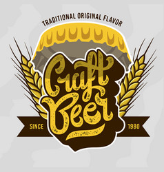 Craft beer script lettering badge emblem design vector