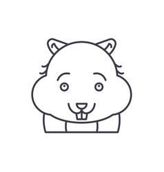 cute hamster line icon concept cute hamster vector image