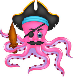 cute pirate octopus cartoon posing bring sword vector image