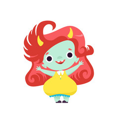 Cute smiling horned troll girl happy adorable vector