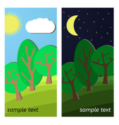 Day and night on a clearing vector