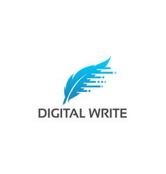 digital write logo designs template feather logo vector image