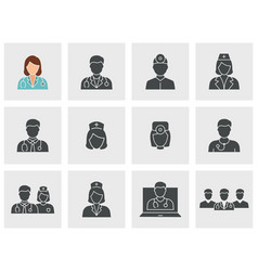 doctor and nurse icons set black vector image