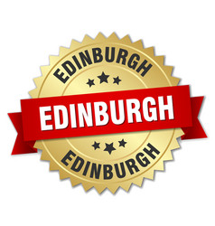 edinburgh round golden badge with red ribbon vector image