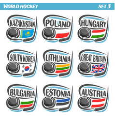 flags national ice hockey teams vector image