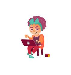 flat teen girl using laptop isolated vector image