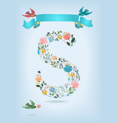 floral letter s with blue ribbon and three doves vector image