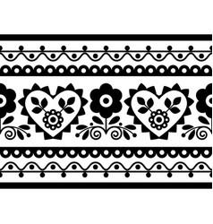 Folk art seamless embroidery long pattern vector