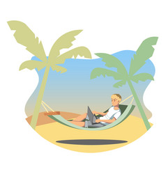 freelance lifestyle man working on tropical vector image