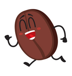 Funny crazy looking coffee bean character running vector