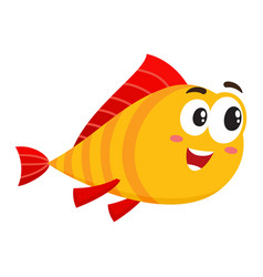 funny golden fish character with human face vector image