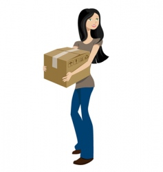 girl with cargo box vector image