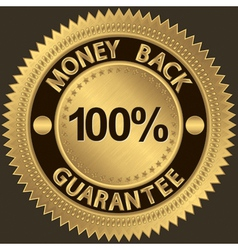 Gold money back guarantee label vector
