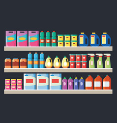 grocery items cleaning products on supermarket vector image