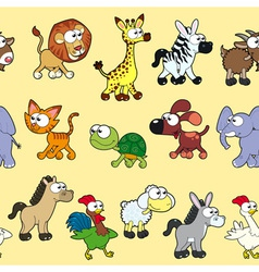 Group of animals with background vector