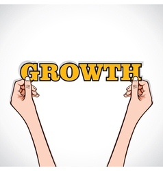 growth word sticker in hand vector image