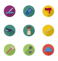 Hairdresser set icons in flat style Big vector image